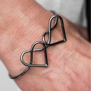Black Cuff Bracelet - When Two Hearts Become One